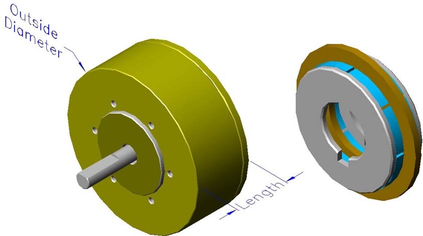 Housed ironless brushless motors, axial, double rotor