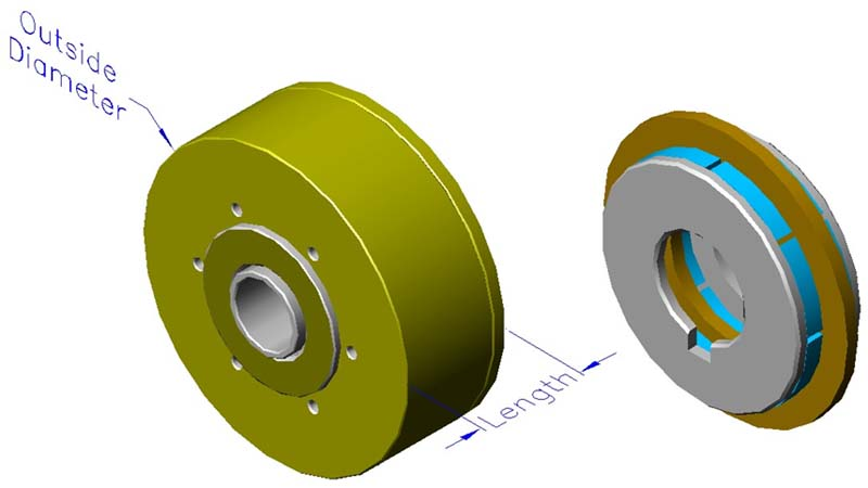 Housed ironless brushless motors, axial, double rotor, hollow shaft
