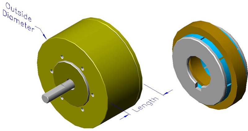 Housed slotless iron core brushless motors, axial, double rotor