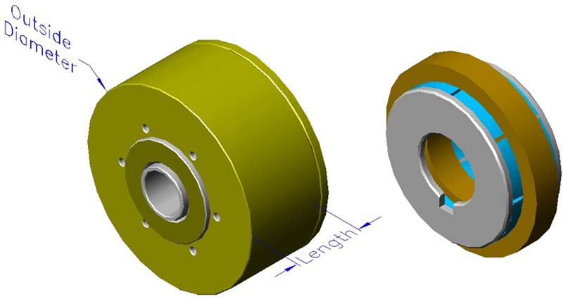 Housed slotless iron core brushless motors, axial, double rotor, hollow shaft