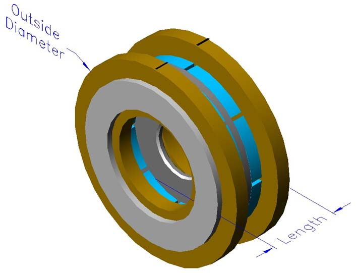 Frameless slotless iron core brushless motors, axial, double winding