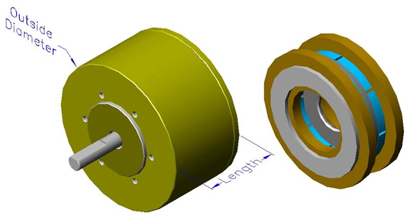 Housed slotless iron core brushless motors, axial, double winding