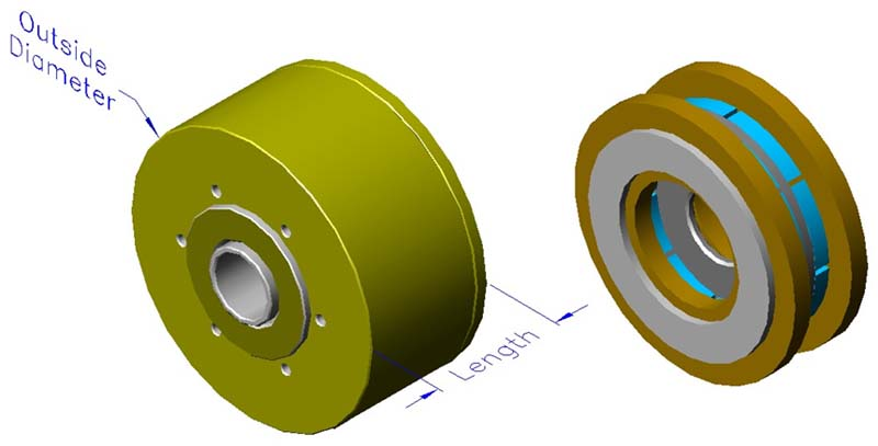 Housed slotless iron core brushless motors, axial, double winding, hollow shaft