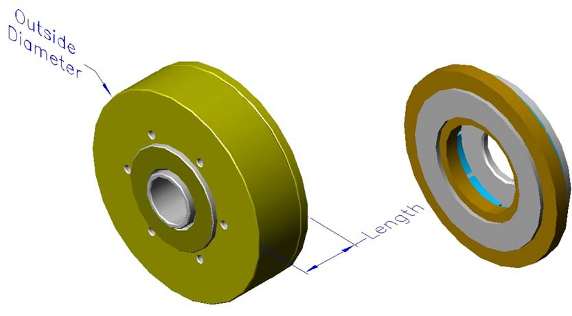 Housed slotless iron core brushless motors, axial, hollow shaft
